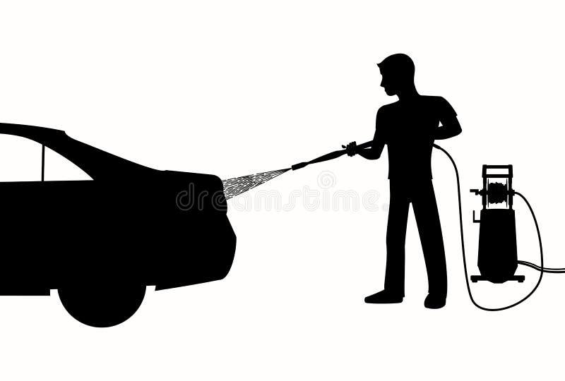 Silhouet die van de Mens een auto wassen vector illustratie
