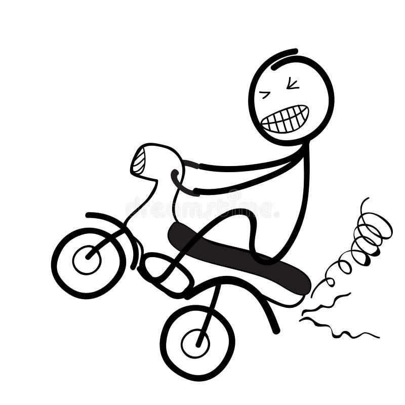 Silhouet die van de mens wheelie op fiets knallen royalty-vrije illustratie