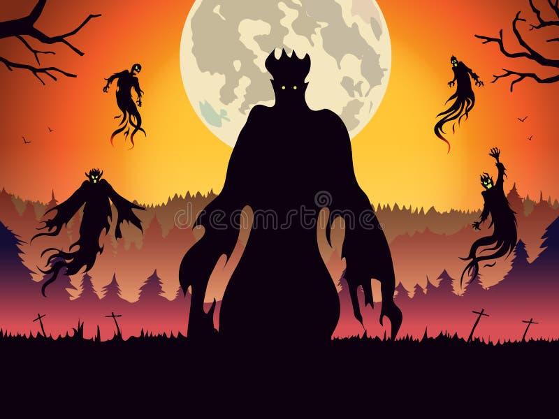 Silhouet die van demon op bos bij volle maannacht vliegen vector illustratie