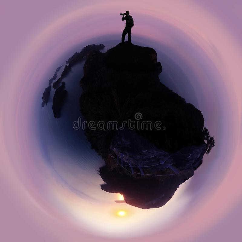 Silhouet die van fotograaf zich op de berg bij het eiland van de archipel in Thailand bevinden stock foto