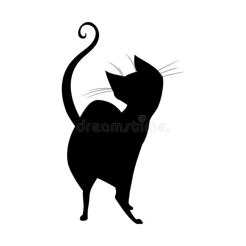 Silhouet die van zwarte heksenkat achteruitgaan royalty-vrije illustratie