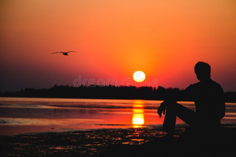 Silhouet door het overzees stock fotografie