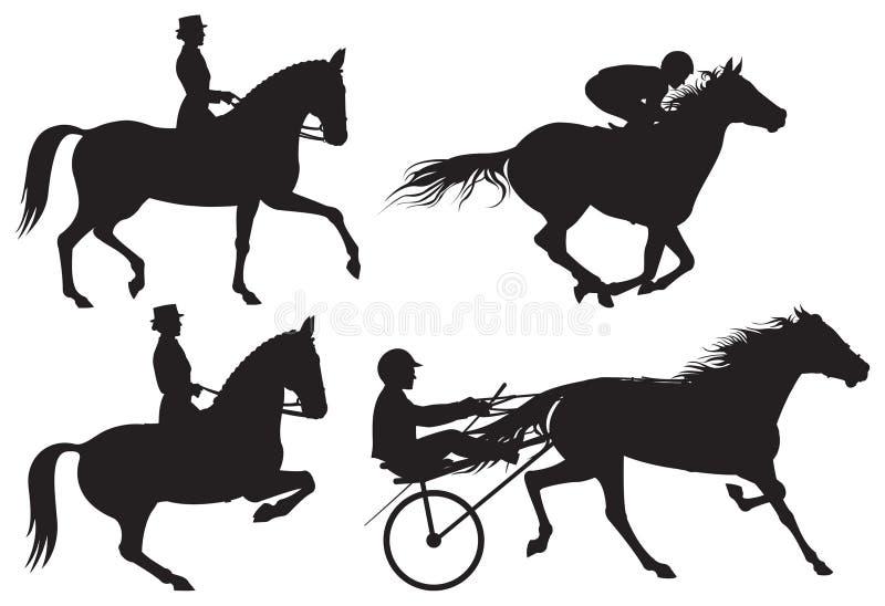 Silhouet dos cavalos e dos cavaleiros do esporte equestre ilustração stock