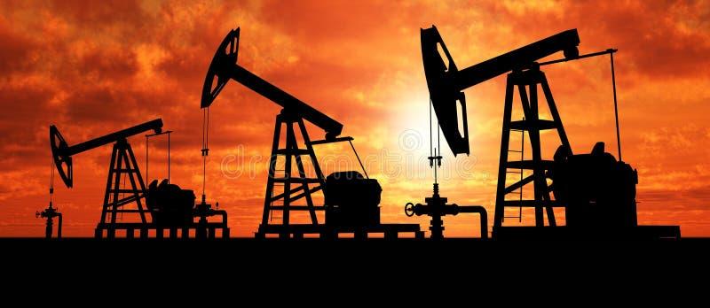 Silhouet drie oliepompen royalty-vrije stock afbeelding