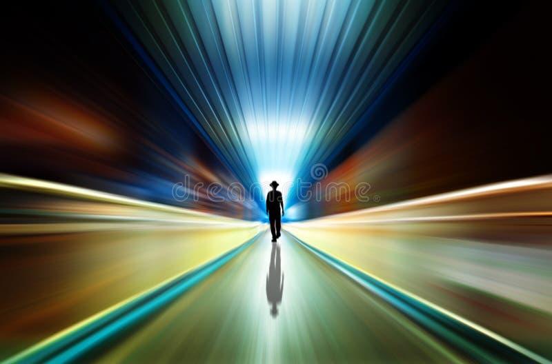 Silhouet in een metrotunnel. Licht op Eind van Tunnel royalty-vrije stock foto's