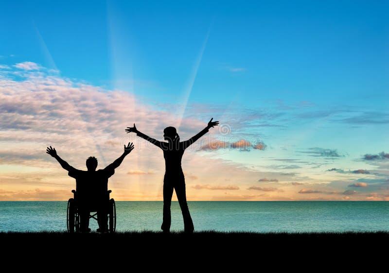 Silhouet gelukkige gehandicapte persoon en beschermer stock afbeeldingen