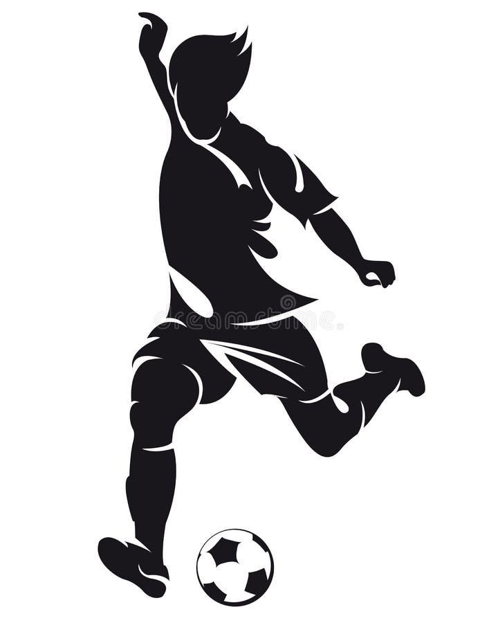 Silhouet het vector van de voetbal (voetbal) speler vector illustratie