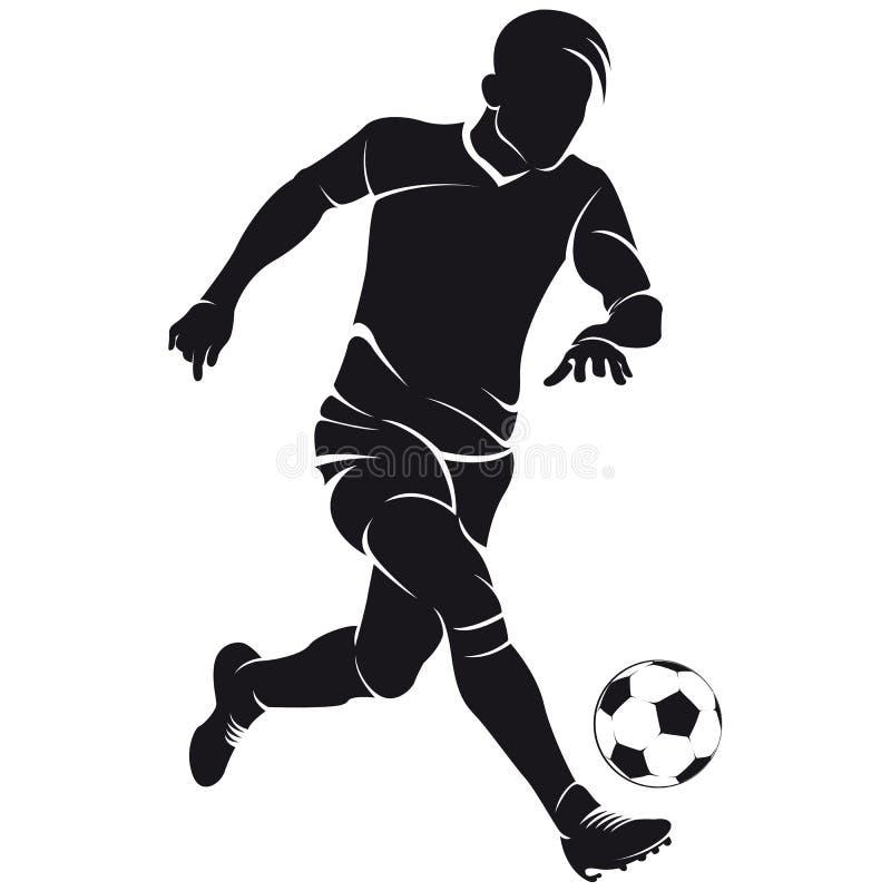 Silhouet het vector van de voetbal (voetbal) speler royalty-vrije illustratie