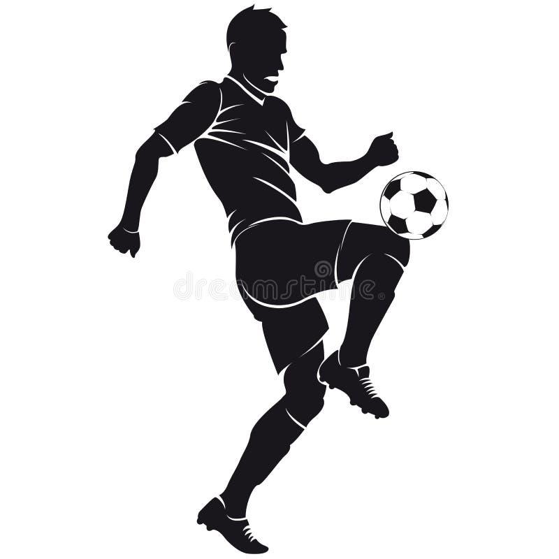 Silhouet het vector van de voetbal (voetbal) speler met bedelaars stock illustratie