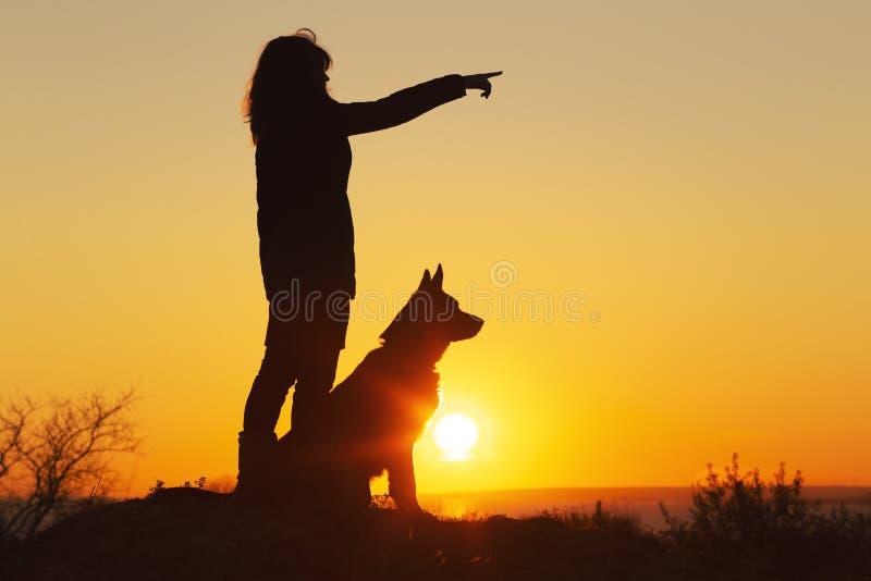 Silhouet jonge vrouw die met een hond op het gebied bij zonsondergang lopen, een meisje in een de herfstjasje op heuvel die haar  stock afbeeldingen