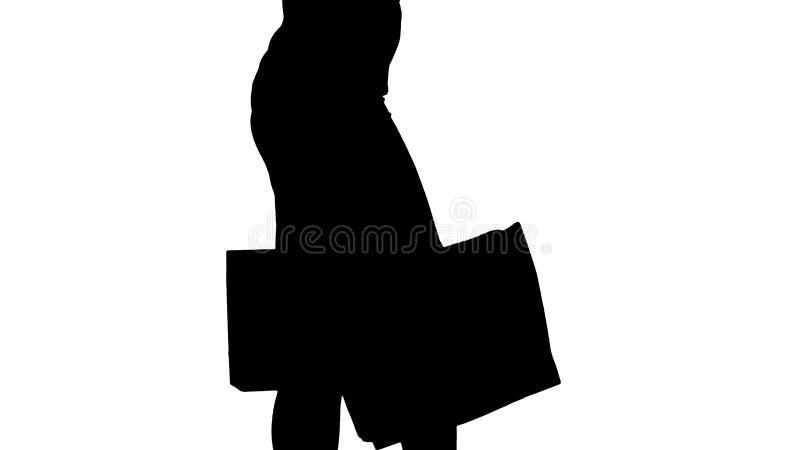 Silhouet Jonge vrouw die met het winkelen zakken van winkel opstappen royalty-vrije stock afbeeldingen