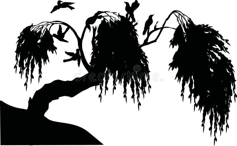 Silhouet met boom en vogels royalty-vrije illustratie