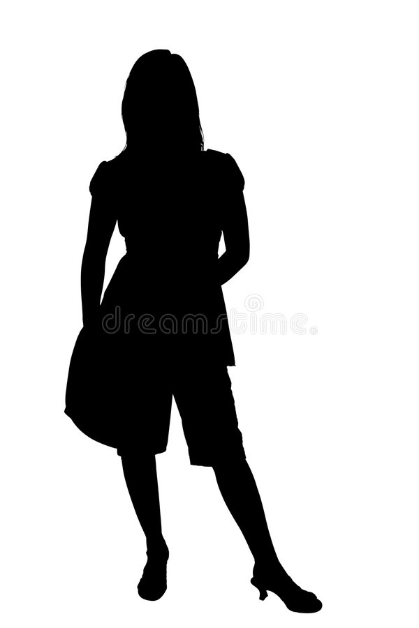 Silhouet met het Knippen van Weg stock illustratie