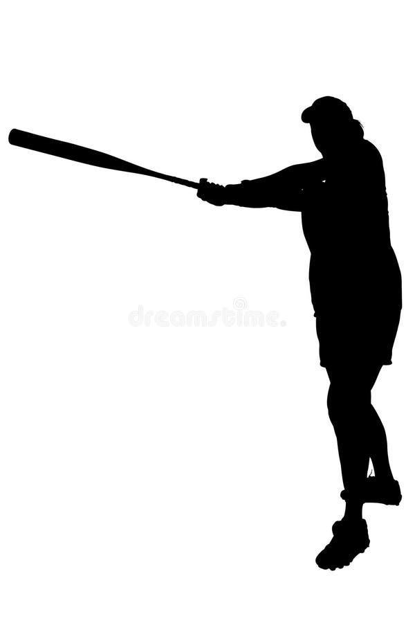Silhouet met het Knippen van Weg van de Vrouwelijke Speler van het Softball vector illustratie