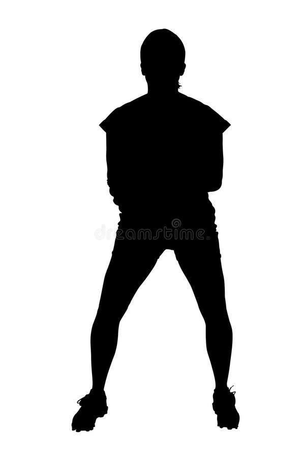 Silhouet met het Knippen van Weg van de Vrouwelijke Speler van het Softball royalty-vrije illustratie