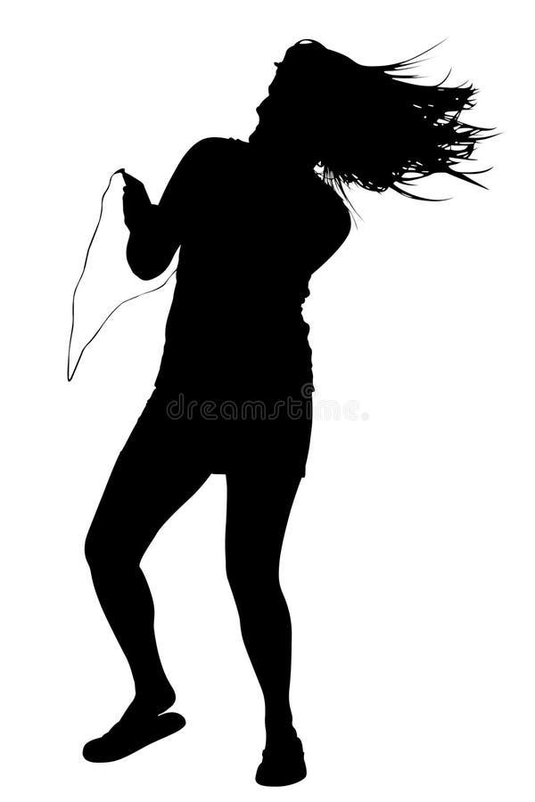 Silhouet met het Knippen van Weg van het Dansen van de Vrouw stock afbeeldingen
