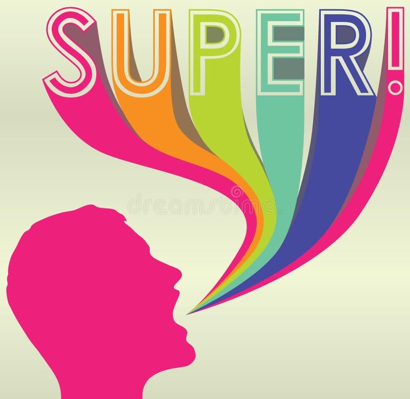 Silhouet met Kleurrijke Titel van Super! stock afbeeldingen