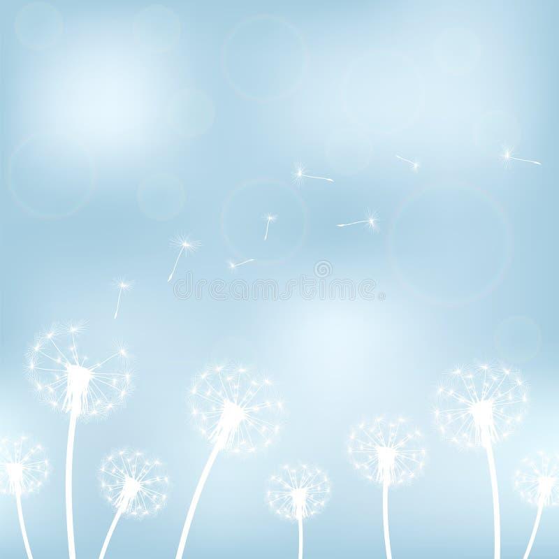 Silhouet met vliegende paardebloemknoppen vector illustratie