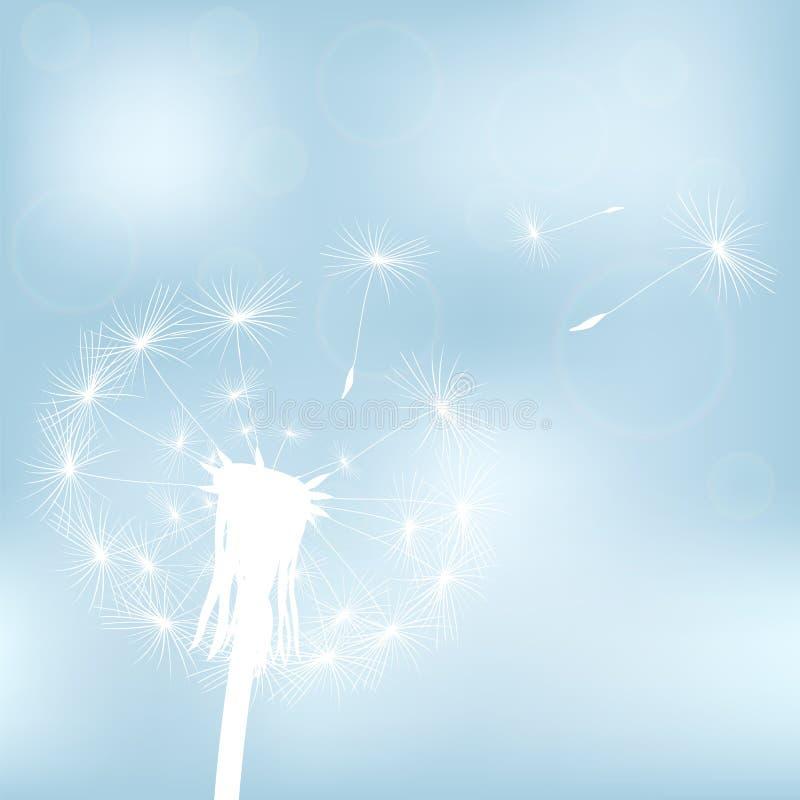 Silhouet met vliegende paardebloemknoppen royalty-vrije illustratie