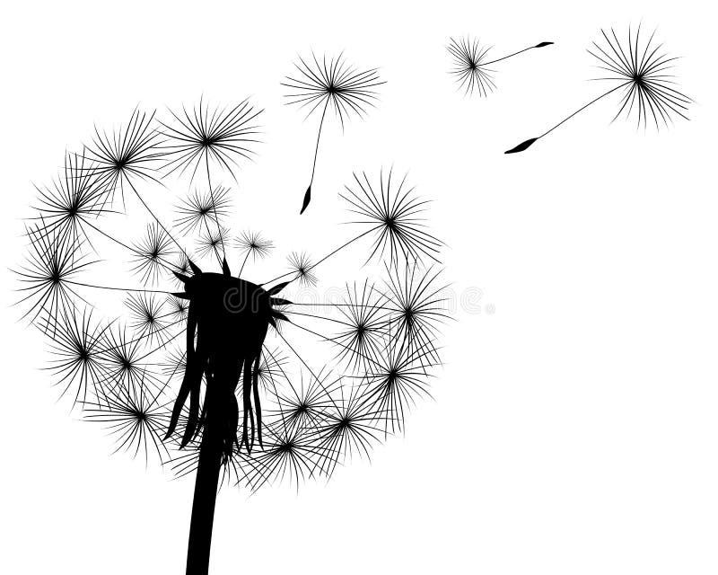 Silhouet met vliegende paardebloemknoppen stock illustratie