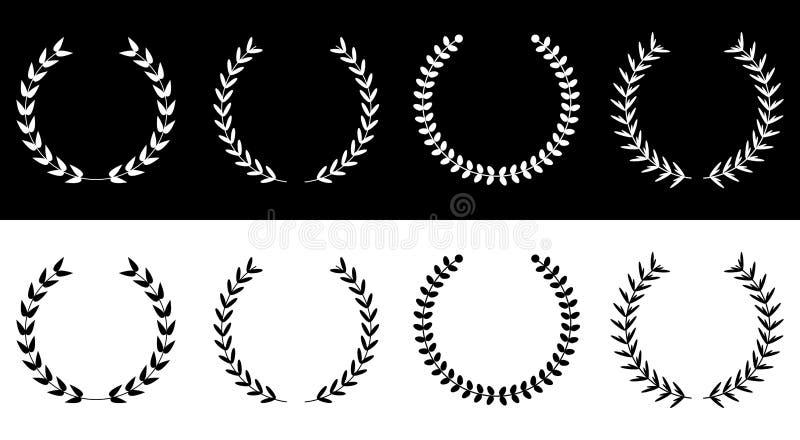 Silhouet om reeks van de de kronenlijn van de laurier de bladerrijke tarwe Toekenningsconcept Vlak Ontwerp Zwart-witte achtergron royalty-vrije illustratie