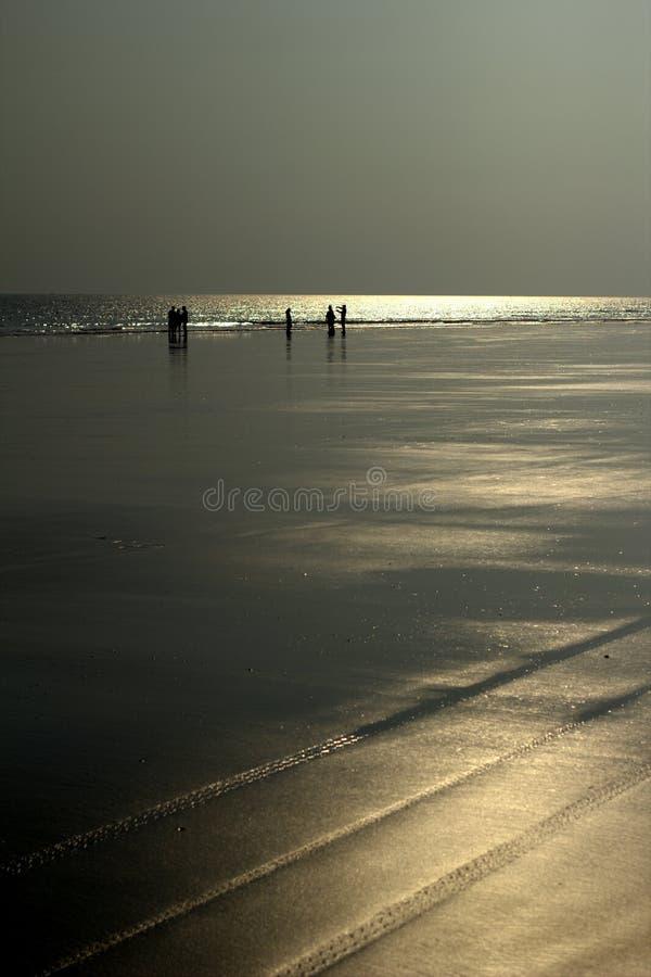 Silhouet op strand royalty-vrije stock foto's