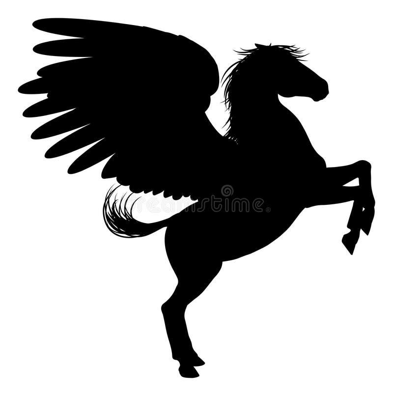 Silhouet Pegasus op Twee Benen vector illustratie