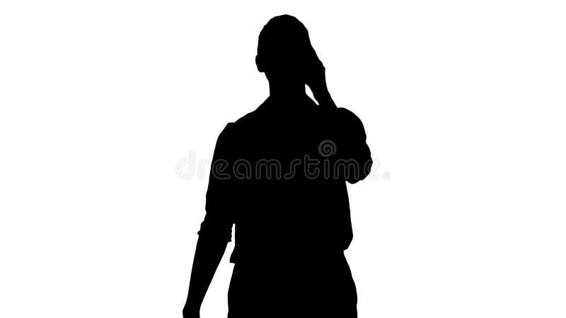 Silhouet Positieve menselijke emoties Gelukkig emotioneel meisje die van de bodem van haar hart lachen stock illustratie