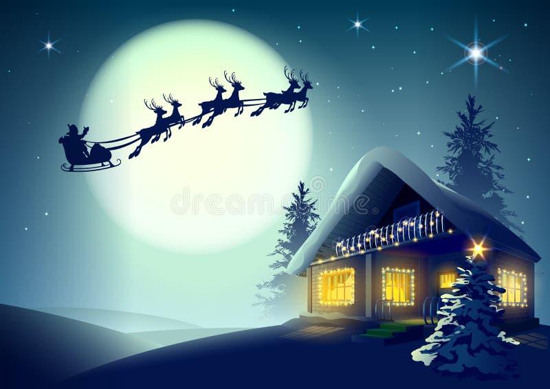 Silhouet Santa Claus en rendier die over Kerstmishuis vliegen in de winterbos royalty-vrije illustratie