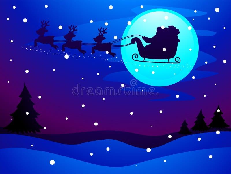 Silhouet Santa Claus Sleigh bij Nachthemel vector illustratie