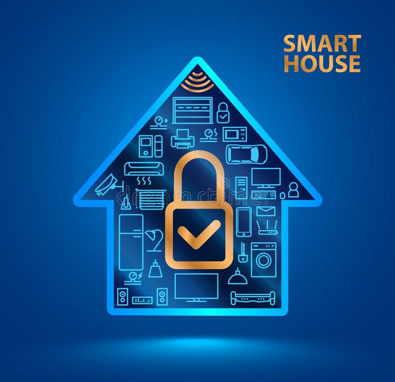 Silhouet slim huis met pictogrammen van huishoudapparaten Ð ¡ losed slotpictogram Internet van Dingen IOT Veiligheidssysteem stock illustratie