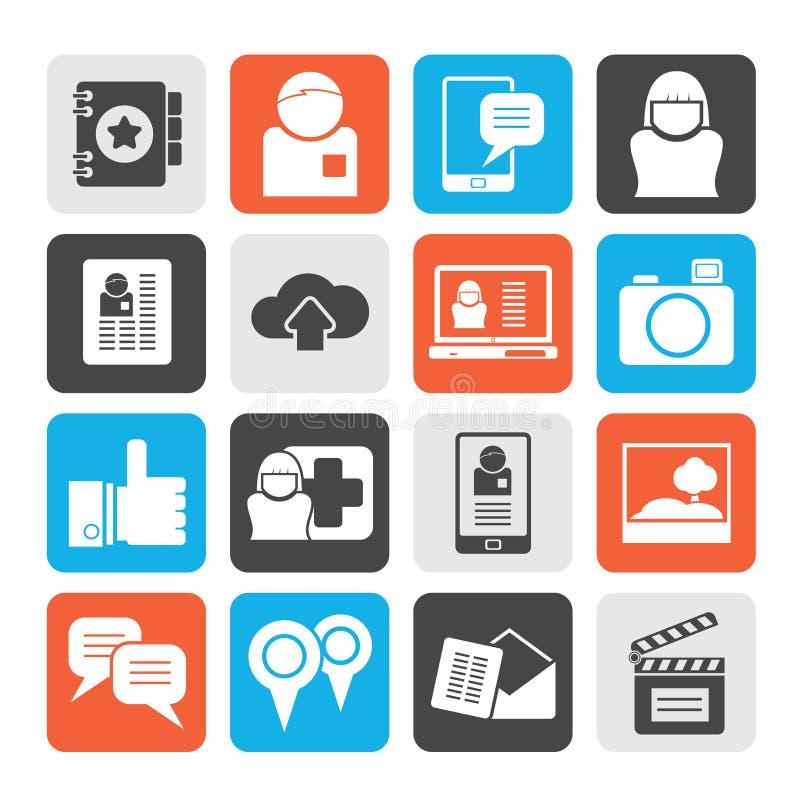 Silhouet Sociale media, netwerk en Internet-pictogrammen stock illustratie