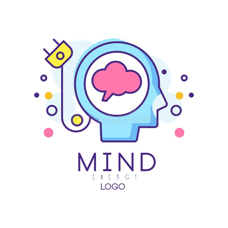Silhouet van abstract menselijk hoofd met kabelstop Creatieve mening of generator van ideeën Het teken van de hersenenenergie in  vector illustratie