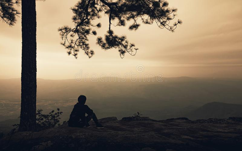 Silhouet van alleen mensenzitting onder grote boom op de bergmening met mist op zonsondergangachtergrond De levensstijl van de Ba royalty-vrije stock afbeeldingen