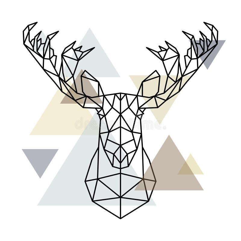 Silhouet van Amerikaanse elanden het hoofd, geometrische die lijnen op Skandinavische achtergrond wordt geïsoleerd vector illustratie