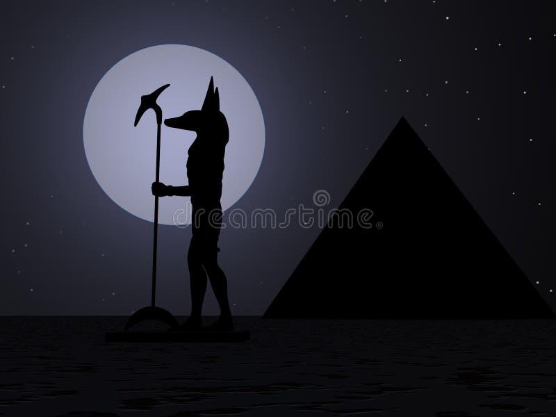 Silhouet van Anubis stock illustratie
