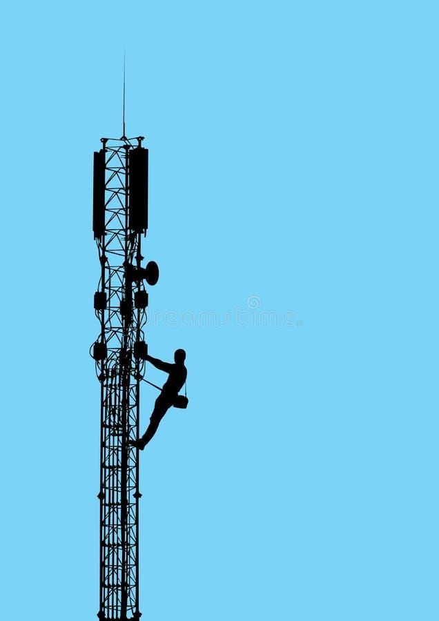 Silhouet van arbeider het beklimmen op mobiele telecommun royalty-vrije illustratie