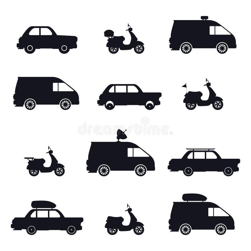 Silhouet van auto en minibus, autoped en auto royalty-vrije illustratie
