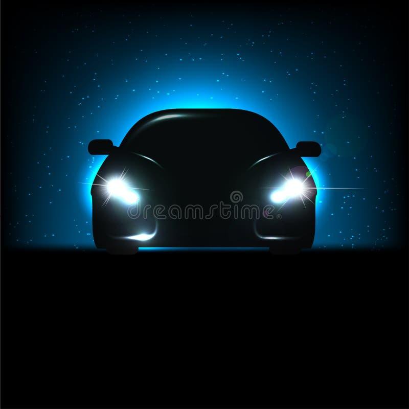 Silhouet van auto met koplampen vector illustratie