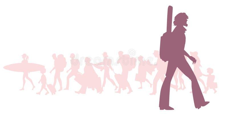 Silhouet van avontuurlijke gebaarde reiziger met een gitaar achter zijn rug royalty-vrije illustratie