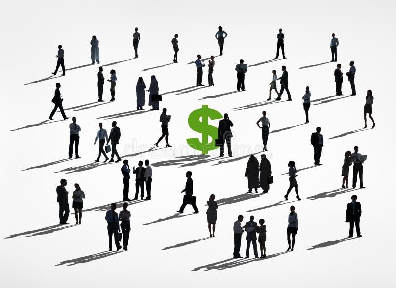 Silhouet van Bedrijfsmensen rond het Dollarteken stock illustratie