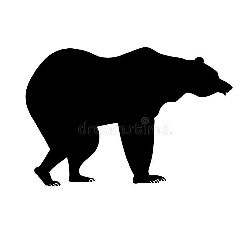 Silhouet van beer Zwart dier op wit achtergrondontwerpelement royalty-vrije illustratie