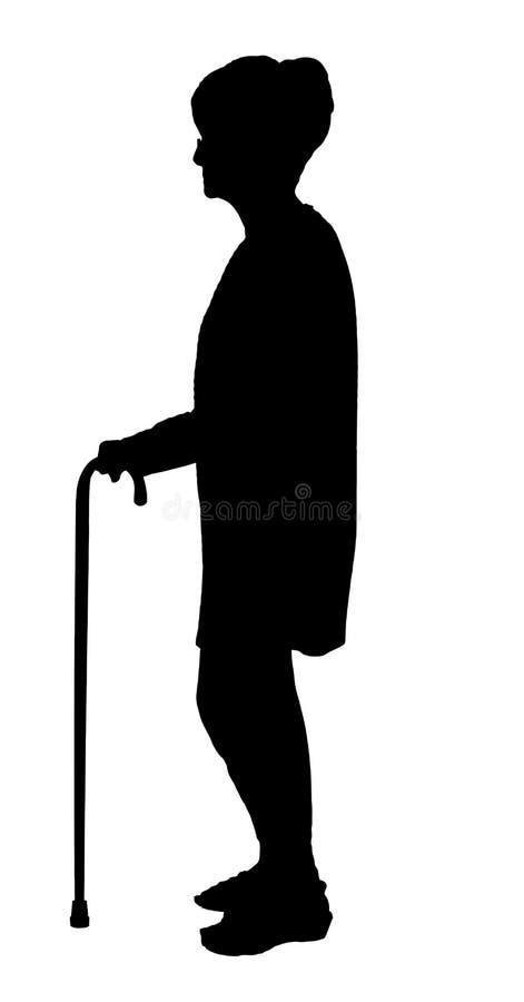 Silhouet van Bejaarde met glazen die met riet lopen stock illustratie