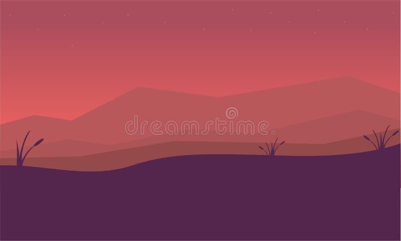 Silhouet van berg en mistlandschap stock illustratie