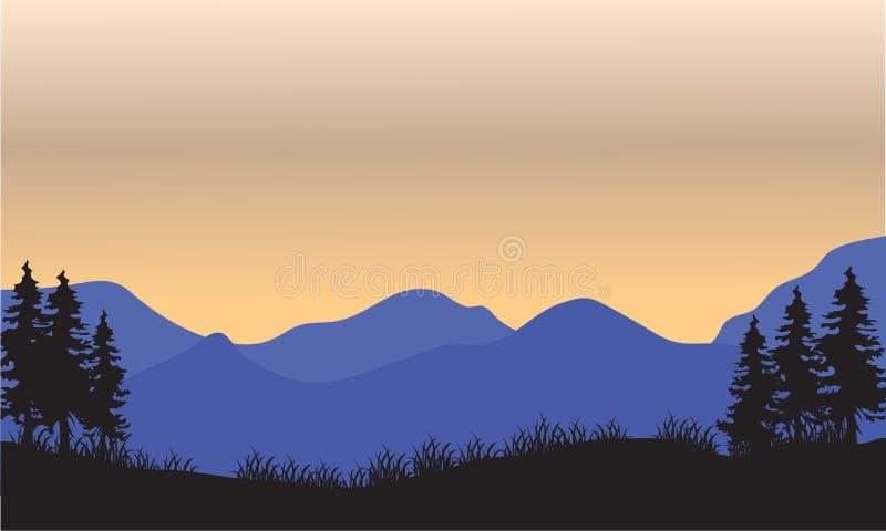 Silhouet van blauwe berg vector illustratie