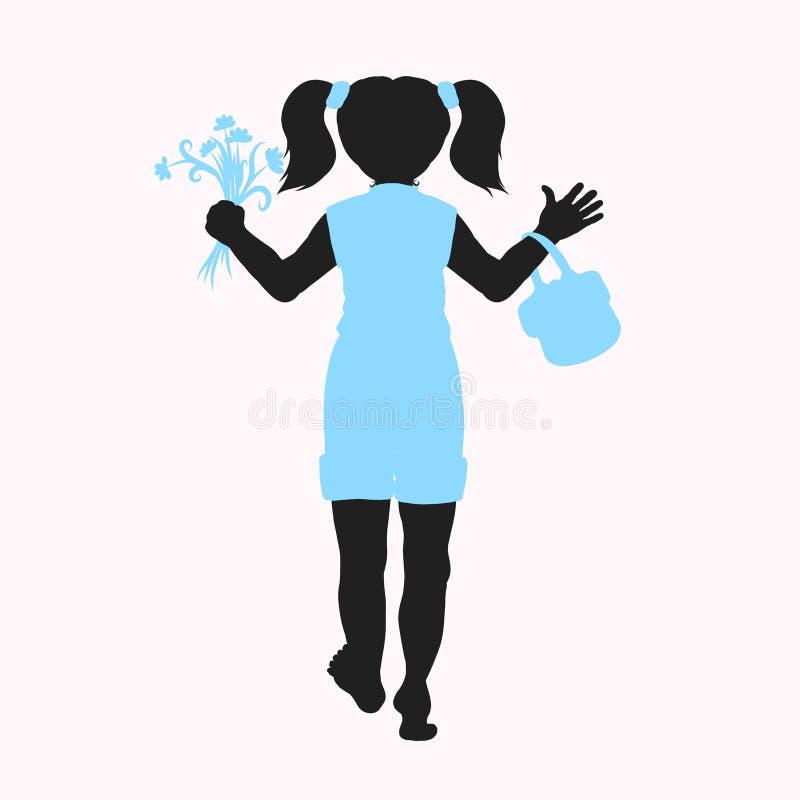 Silhouet van blootvoets meisje met boeket van bloemen en handtas stock illustratie