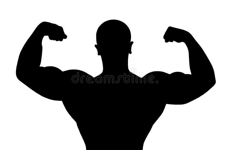 Silhouet van bodybuilder royalty-vrije illustratie
