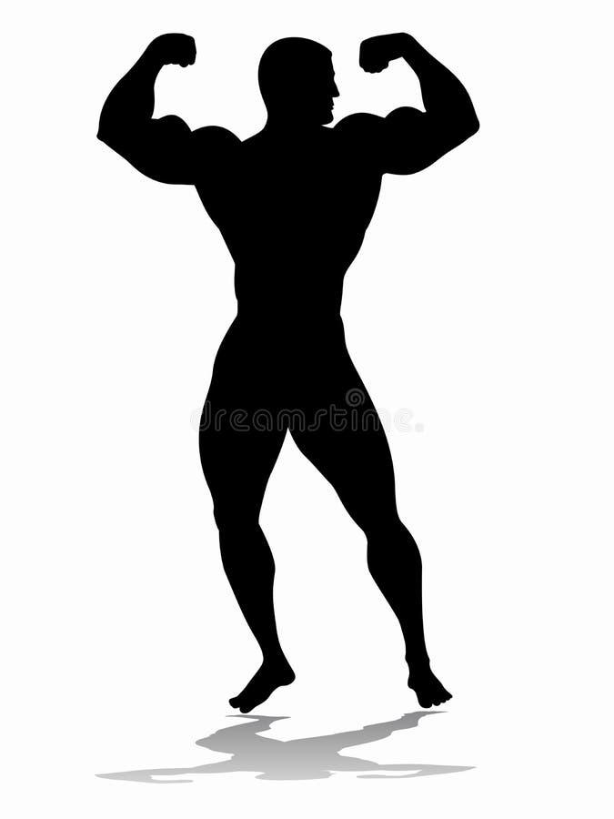 Silhouet van bodybuilder, het trekken royalty-vrije illustratie