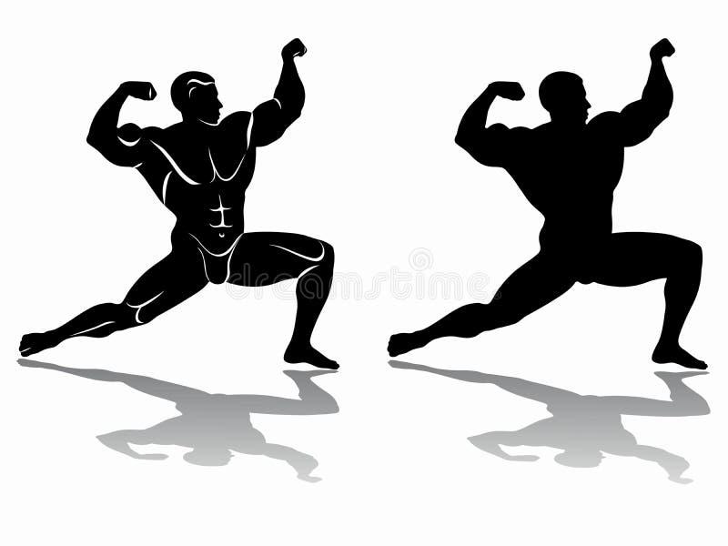 Silhouet van bodybuilder, vectortekening royalty-vrije illustratie