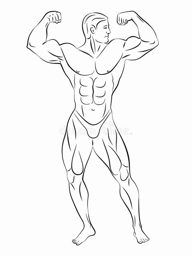 Silhouet van bodybuilder, vectortekening vector illustratie